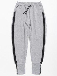 Pantalones Jogger Con Estampado De Letras Y Color En Contraste - Gris M