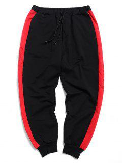 Side Stripe Drawstring Jogger Pants - Black L