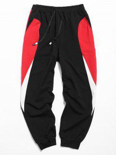 Drawstring Waist Panel Jogger Pants - Natural Black Xl