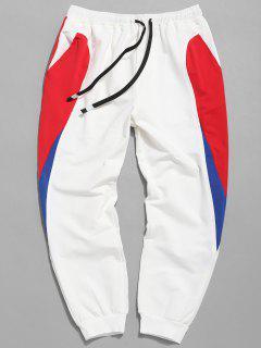 Drawstring Waist Panel Jogger Pants - Milk White L
