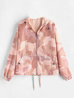 Lightweight Camo Print Zip Up Jacket - Pink