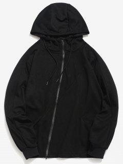 ZAFUL Personality Seam Detail Zip Hoodie - Black L