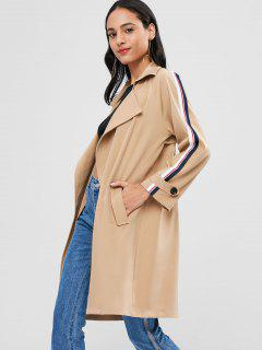 Open Front Stripes Panel Trench Coat - Tan L