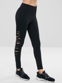 ZAFUL Ripped High Waist Sports Leggings - Black S