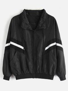 Patchwork Drawstring Jacket - Black