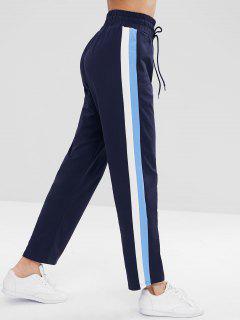 ZAFUL Striped Side Drawstring Pants - Cadetblue L