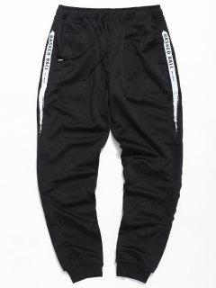 Letter Paint Drawstring Jogger Pants - Black L