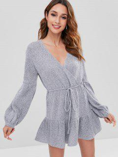 Surplice Long Sleeve Sweater Dress - Gray M