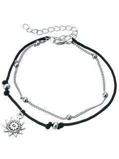 Vintage Metal Sun Beach Anklet Chain - Silver