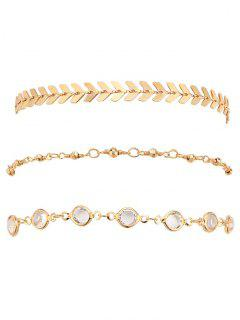 Rhinestone Arrow Alloy Ankle Bracelet Set - Gold
