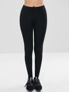 Mesh Striped Panel Sports Leggings - Black M