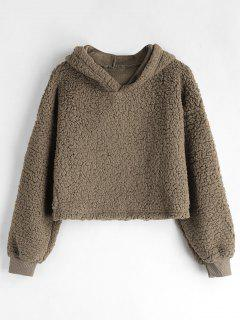 Drop Shoulder Fluffy Boxy Hoodie - Coffee M