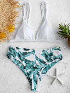ZAFUL Tropischer Blätter-Bikini Mit Hohem Schnitt - Weiß M
