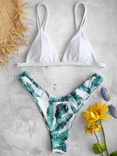 ZAFUL Ensemble De Bikini Feuille Tropicale Imprimée - Blanc S