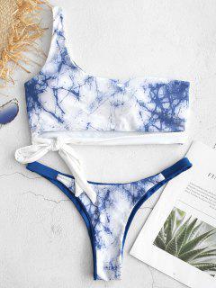 ZAFUL Knot Marmor Print Ein Schulter Bikini - Multi L