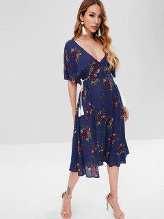 Batwing Floral Cut Out Midi Dress - Midnight Blue L