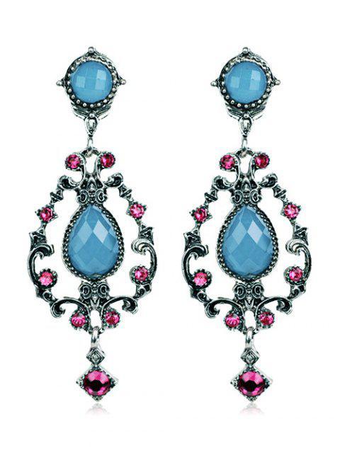 Boucles d'oreilles ajourées en forme de goutte d'eau décorées des strass - Bleu de Soie  Mobile