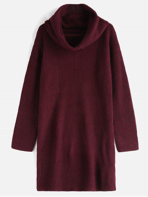 Robe pull à col roulé à manches longues - Rouge Vineux Taille Unique Mobile