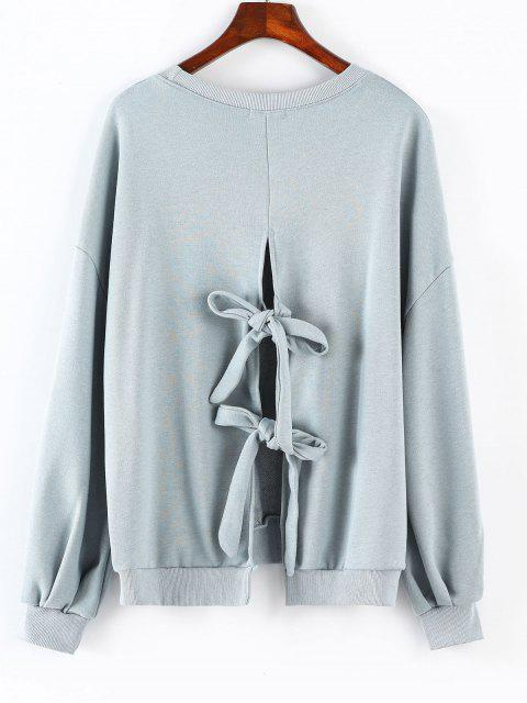 Rundhalsausschnitt mit geknotetem Sweatshirt - Blaugrau Eine Größe Mobile