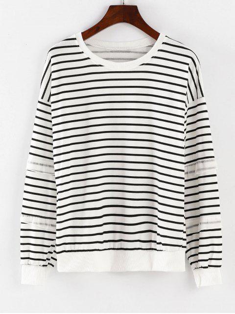 Langärmliges gestreiftes Sport-Sweatshirt - Weiß L Mobile