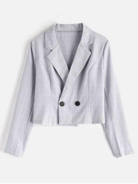 Blazer à carreaux à double boutonnage - Gris Clair M Mobile