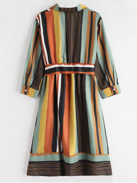 buy Long Sleeve Knot Striped Shirt Dress - MULTI M Mobile