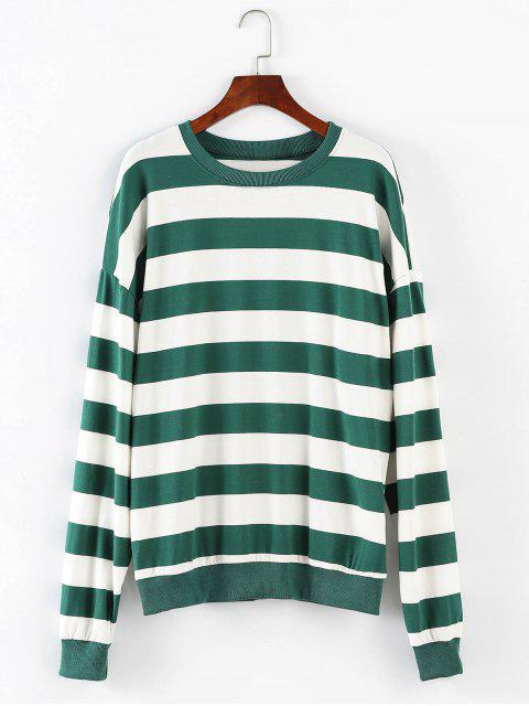 Übergroßes gestreiftes Sweatshirt - Mittlerer Wald Grün Eine Größe Mobile
