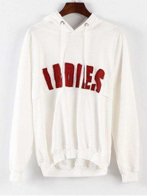 Drop Shoulder Graphic Tunika Hoodie - Weiß Eine Größe Mobile