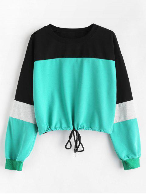 Farbblock-Tropfen-Schulter-Sweatshirt - Multi L Mobile