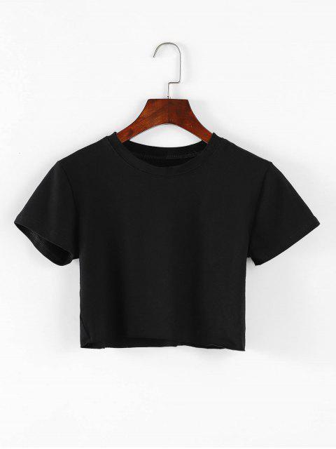 Crewneck - Raw Saum - Abgeschnittenes T-Shirt - Schwarz Eine Größe Mobile
