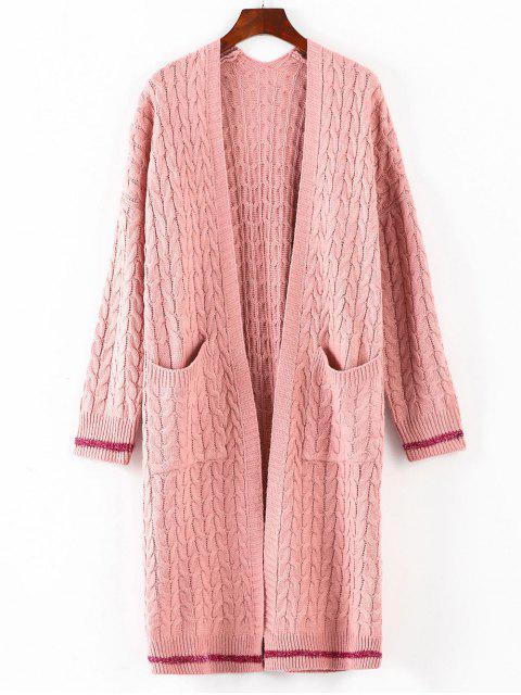 Cable Knit Kragen Midi Strickjacke - Pink Eine Größe Mobile