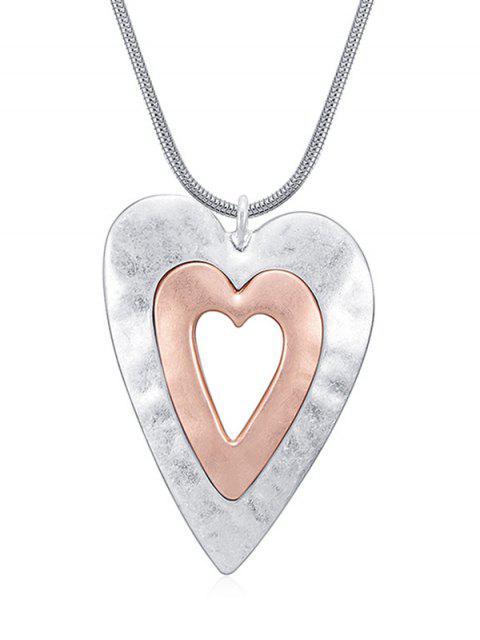 Hohl Doppelherz Design Anhänger Halskette - Silber  Mobile