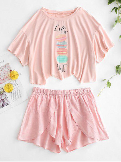 Raw Hem Printed Pyjama Set - Helles Rosa M Mobile