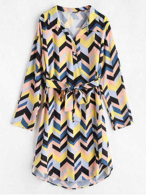 Belted Half Button Printed Dress - Multi-B S Mobile