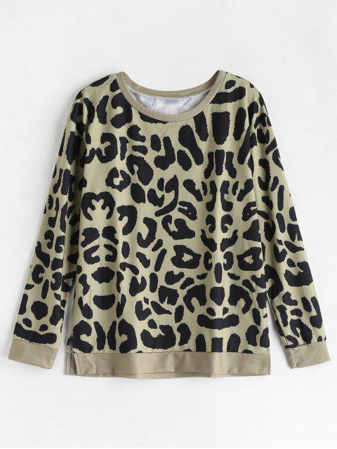 Schlitz-Leopard-Pullover-Sweatshirt - Multi L Mobile