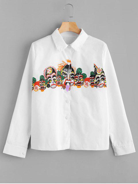 Snap Button Printed Casual Shirt - Blanc Taille Unique Mobile