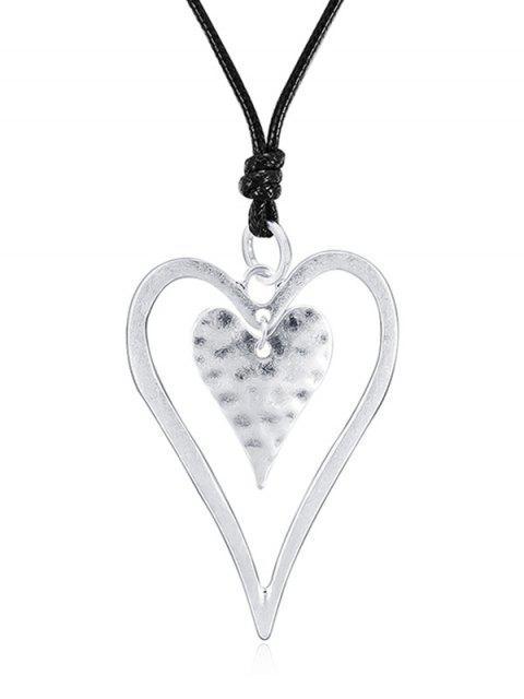 Aushöhlen Herz Design Anhänger Halskette - Silber  Mobile