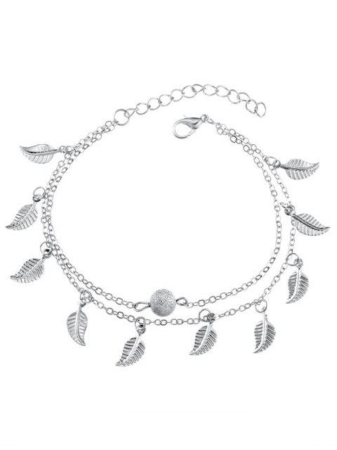 online Double Layer Metal Leaf Ankle Bracelet - SILVER  Mobile