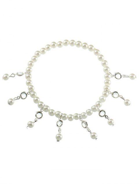 Vintage Faux Perle Fuß Schmuck Knöchel Armband - Silber  Mobile