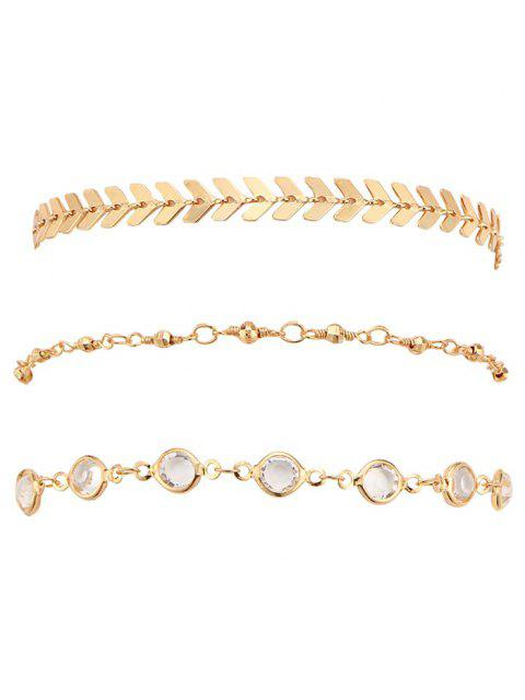 outfit Rhinestone Arrow Alloy Ankle Bracelet Set - GOLD  Mobile