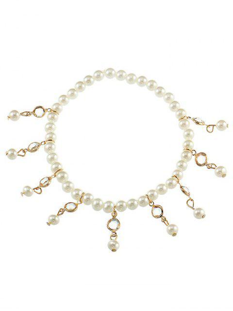 Vintage Faux Perle Fuß Schmuck Knöchel Armband - Gold  Mobile