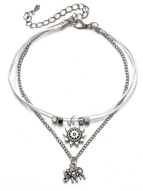 Multilayer Metall Elefant Knöchel Armband - Silber  Mobile