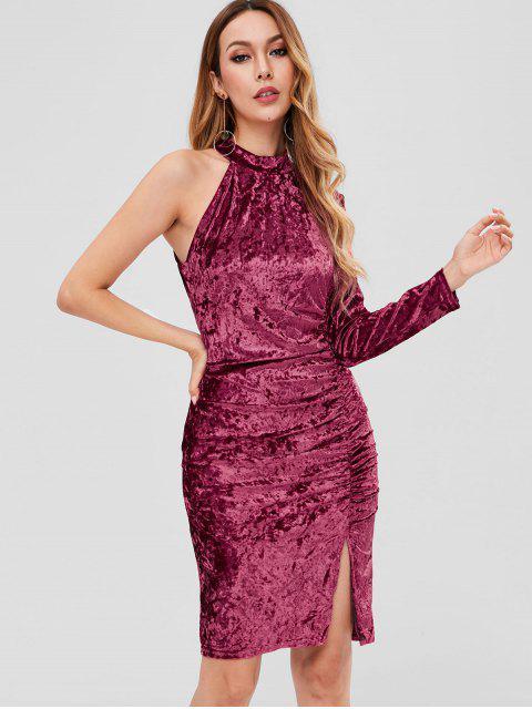 affordable Velvet Cinched One Shoulder Dress - PLUM VELVET L Mobile