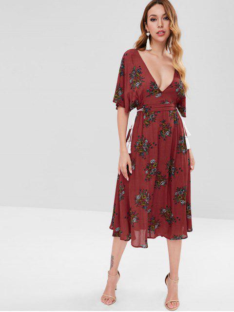 Robe Mi-Longue Chauve-souris Découpée Fleurie - Rouge Cerise S Mobile