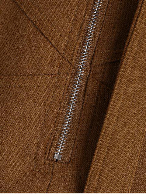 Short taille haute zippé avec ceinture - Brun M Mobile