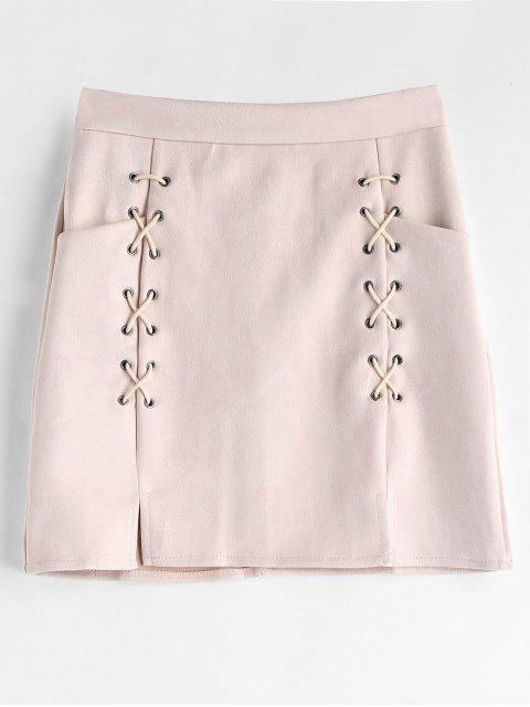 Minifalda cruzada cruzada Faux Suede - Chicle Rosa M Mobile