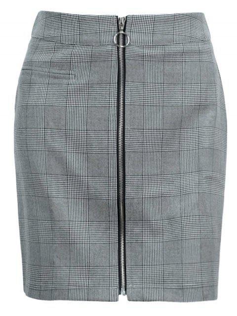 Mini falda con cremallera en cuadros - Negro L Mobile