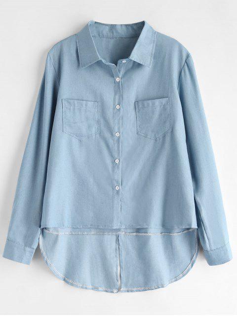 Camisa alta baja Chambray - Azul Marino M Mobile