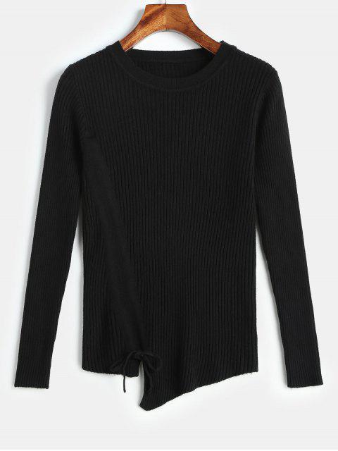 Suéter asimétrico de punto delantero con cordón - Negro Talla única Mobile