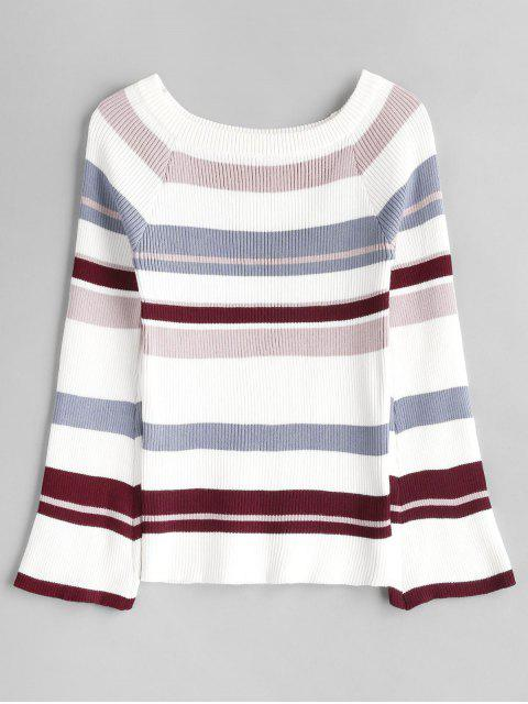 Fuera de los jerseys a rayas con hombros - Multicolor Talla única Mobile
